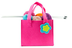 Knitting needles and balls of yarn in a felt handbag Stock Image