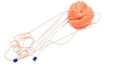 Knitting needles and a skein of wool yarn Royalty Free Stock Photo