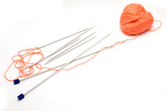 Knitting needles and a skein of wool yarn Stock Photography