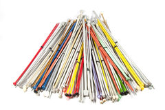 Knitting Needles of Various Colors and Sizes Royalty Free Stock Images