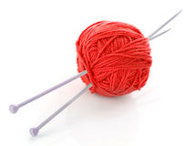 Knitting needles and wool ball Stock Photography