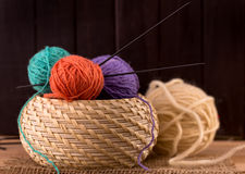 Knitting needles and  woolen yarns Royalty Free Stock Photography