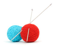 Knitting needles and yarn Royalty Free Stock Photography