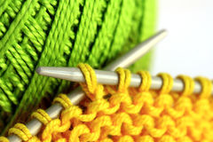 Knitting needles and yarn Stock Photo