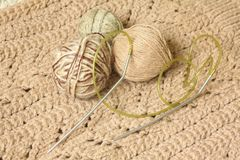 Knitting needles and yarn for knitting Stock Images