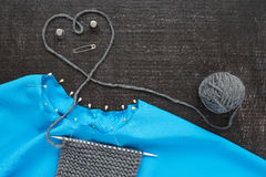 Knitting and needlework on black background Royalty Free Stock Images