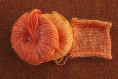 Free Knitting Orange Mohair Wool Stock Photos - 75741063