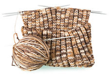 Knitting pattern with a ball of yarn and needles Royalty Free Stock Photo