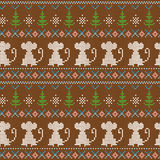 Knitting pattern. Funny winter pattern with a knitted effect on New Year's theme stock illustration