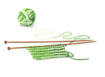 Knitting pattern of green yarn on wooden needles Royalty Free Stock Image