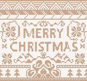 Knitting pattern with merry christmas Royalty Free Stock Photo