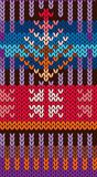 Knitting Pattern in style Fair Isle. Bright, multi-color. Seamless pattern. Needlework, handmade, manufacture of fabrics, yarn,. Tools for needlework stock illustration