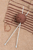Knitting pattern and wool ball Stock Photo
