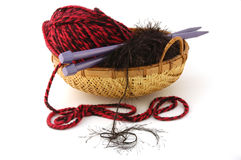 Knitting project. Knitting needles and yarn in a basket Royalty Free Stock Images