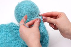 Knitting a pullover stock photography