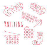 Knitting Related Object Set With Text Royalty Free Stock Photography