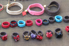 Knitting ring on background Stock Photos