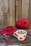 Knitting and rose tea Royalty Free Stock Photography