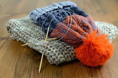 Knitting scard and wolly hat Stock Photography