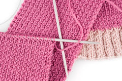 Knitting scarf Royalty Free Stock Image
