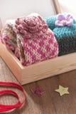 Knitting scarves Stock Photos