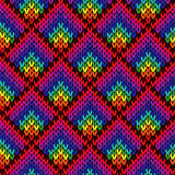 Knitting seamless colourful geometric pattern Stock Images