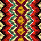 Knitting seamless geometric multicolor pattern Royalty Free Stock Images