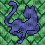Knitting seamless pattern with blue cat over green Royalty Free Stock Photos