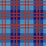 Knitting seamless pattern in blue and red colors. Knitting seamless vector pattern with perpendicular lines as a woollen Celtic tartan plaid or a knitted fabric Stock Image