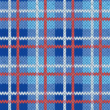 Knitting seamless pattern in blue, white and red colors. Knitting seamless vector pattern with perpendicular lines as a woollen Celtic tartan plaid or a knitted Stock Photography