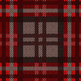 Knitting seamless pattern in dark warm colors. Knitting seamless vector pattern with perpendicular lines as a woollen Celtic tartan plaid or a knitted fabric Stock Photos