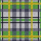 Knitting seamless pattern in green, white, yellow and grey hues Stock Photography