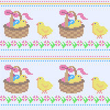 Knitting seamless pattern. Seamless knitted pattern with easter ornament. Vector illustration from multicolor elements  with chicks at a basket and flowers Royalty Free Stock Photos