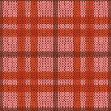 Knitting seamless pattern in pink and orange hues. Knitting seamless vector pattern with perpendicular lines as a woollen Celtic tartan plaid or a knitted fabric Stock Photo