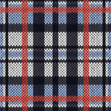 Knitting seamless pattern in pink, white and various blue hues. Knitting seamless vector pattern with perpendicular lines as a woollen Celtic tartan plaid or a Royalty Free Stock Images