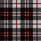 Knitting seamless pattern in red, black, white and grey hues. Knitting seamless vector pattern with perpendicular lines as a woollen Celtic tartan plaid or a Stock Images
