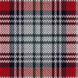 Knitting seamless pattern in red, pink and grey hues. Knitting seamless vector pattern with perpendicular lines as a woollen Celtic tartan plaid or a knitted Royalty Free Stock Photography