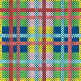 Knitting seamless pattern in various colors. Knitting seamless vector pattern with perpendicular lines as a woollen Celtic tartan plaid or a knitted fabric Stock Images