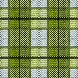 Knitting seamless pattern in warm green and grey hues Royalty Free Stock Photography