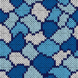 Knitting seamless scrappy pattern in blue and white colors. Knitting seamless scrappy vector pattern in blue and white colors as a knitted fabric texture Royalty Free Stock Photos