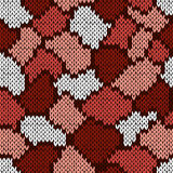 Knitting seamless scrappy pattern in brown, pink and white color Stock Images