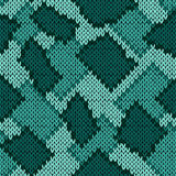 Knitting seamless scrappy pattern in turquoise hues Royalty Free Stock Photography