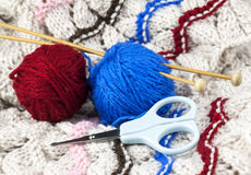 Knitting set. With woollen thread, knitting needle and scissors Stock Photo