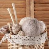 Knitting set in basket Stock Photos