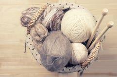Knitting set in basket Royalty Free Stock Photography