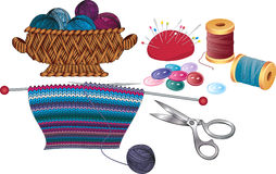 Knitting and sewing Royalty Free Stock Photos