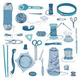 Knitting and sewing accessories. Hand drawn colorful illustrations set. Royalty Free Stock Image