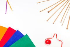 Knitting, sewing and crochet tools on white background Royalty Free Stock Photo