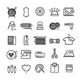 Knitting, sewing and needlework icons Stock Photos