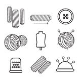Knitting, sewing and needlework line icons. Knitting items. Eps10 Royalty Free Stock Images